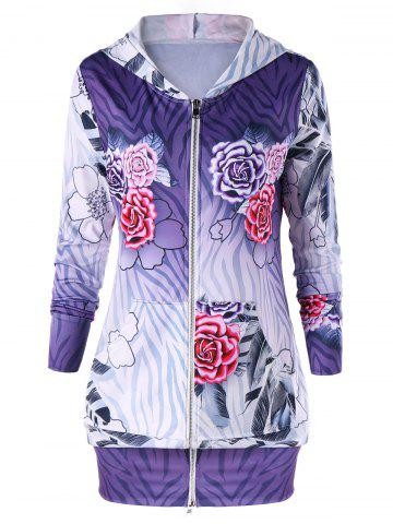 Buy Zip Up Flower Print Hoodie Dress