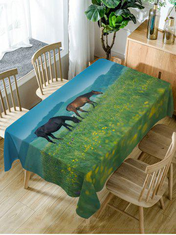 Outfit Horses On The Grasslands Print Fabric Waterproof Table Cloth