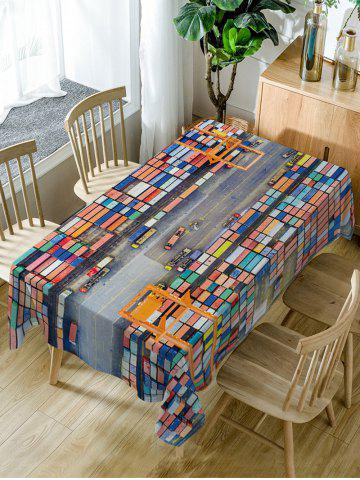 Trendy Container Terminal Print Waterproof Table Cloth