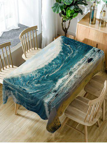 Shops Ocean Wave Print Waterproof Dining Table Cloth