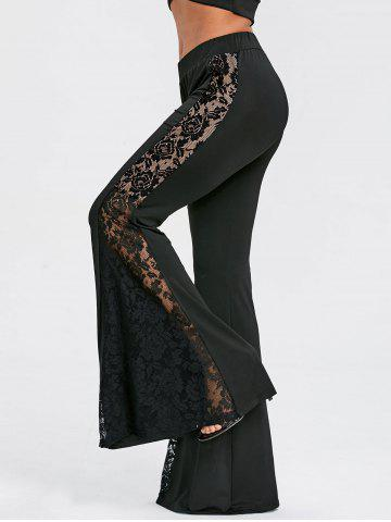 Cheap Lace Panel High Waist Flare Pants
