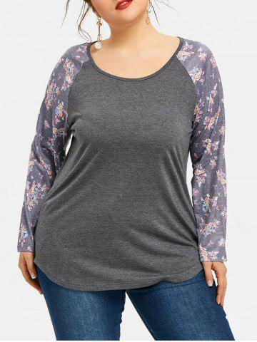 Shop Plus Size Plain Floral Raglan Sleeve T-shirt