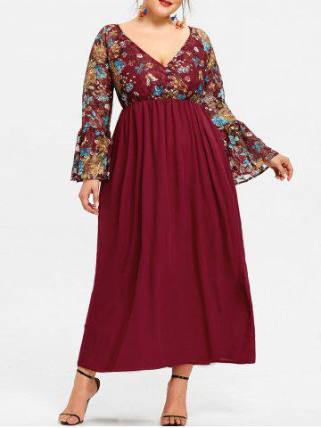 Discount Plus Size Surplice Neck Floral Maxi Dress