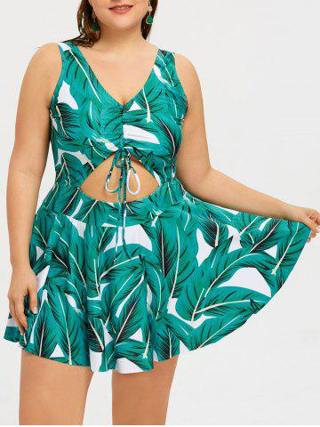 Outfit Leaves Print Cutout Plus Size Swimdress