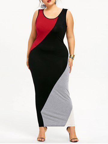 Sale Plus Size Color Block Maxi Tank Dress