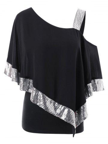 Hot Plus Size Skew Collar Glittery Overlay T-shirt