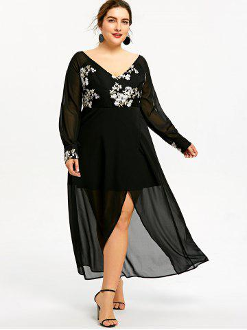 91d4902085 Embroidery Slit Sheer Chiffon Plus Size Midi Dress