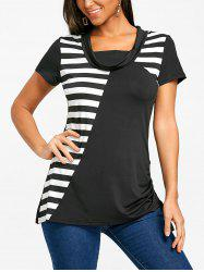 Stripe Panel Short Sleeve T-shirt -