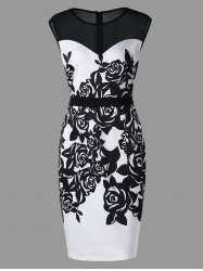 Plus Size Flower Print Mesh Panel Work Dress -