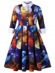 Plus Size Galaxy Planet Print Shirt Dress -