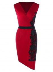 Plus Size Lace Trim Asymmetric Bodycon Dress -