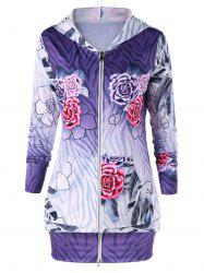 Zip Up Flower Print Hoodie Dress -