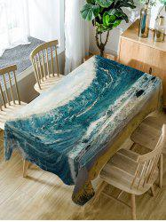 Ocean Wave Pattern Waterproof Dining Table Cloth -