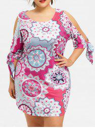 Plus Size Print Cut Out Sleeve Dress -