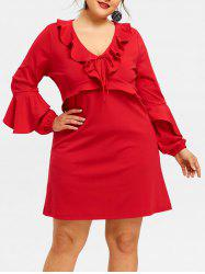 Plus Size Ruffle Trim Plunge Dress -