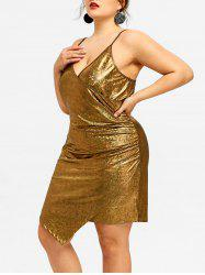 Plus Size Asymmetrical Plunge Bodycon Dress -