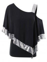 Plus Size Skew Collar Glittery Overlay T-shirt -