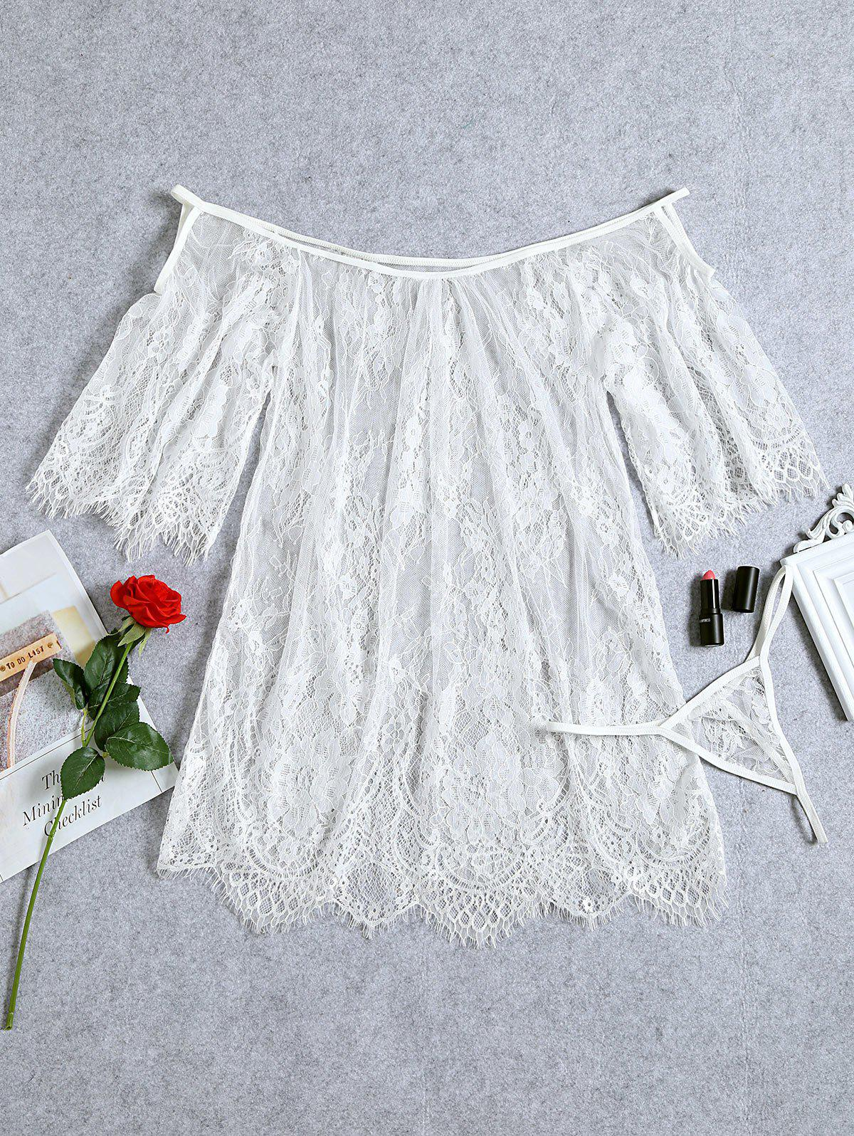Cheap Lace Sheer Eyelash Lingerie Dress