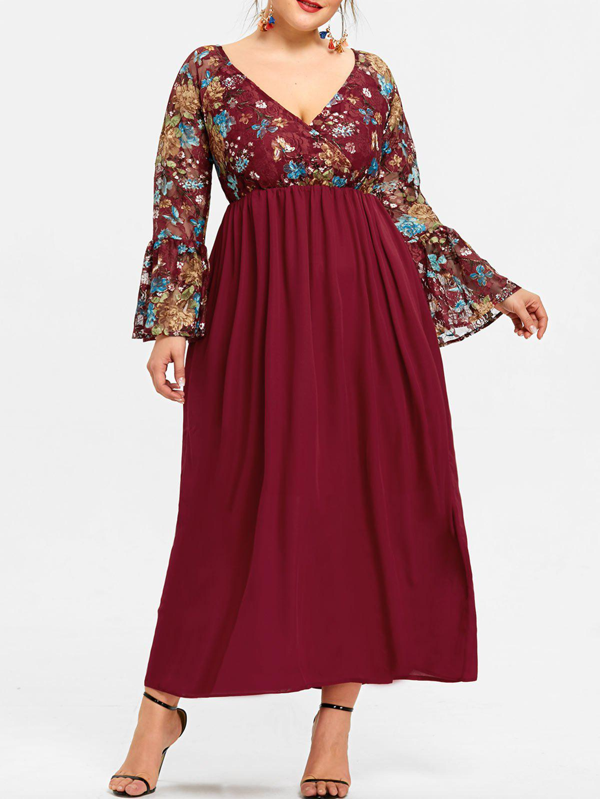 Unique Plus Size Surplice Neck Floral Maxi Dress