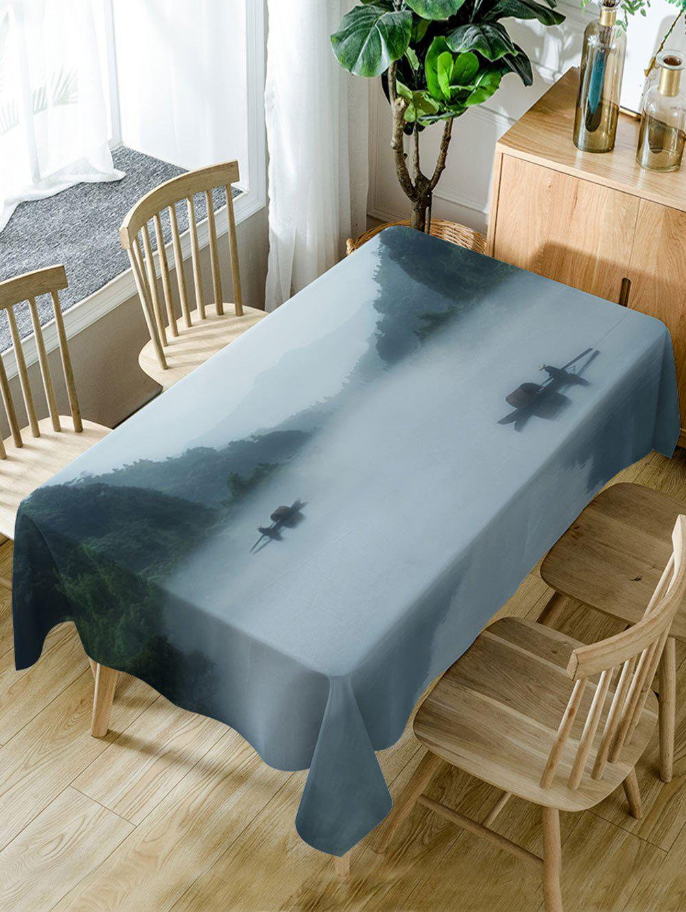 Latest River In Mountains Pattern Waterproof Dining Table Cloth