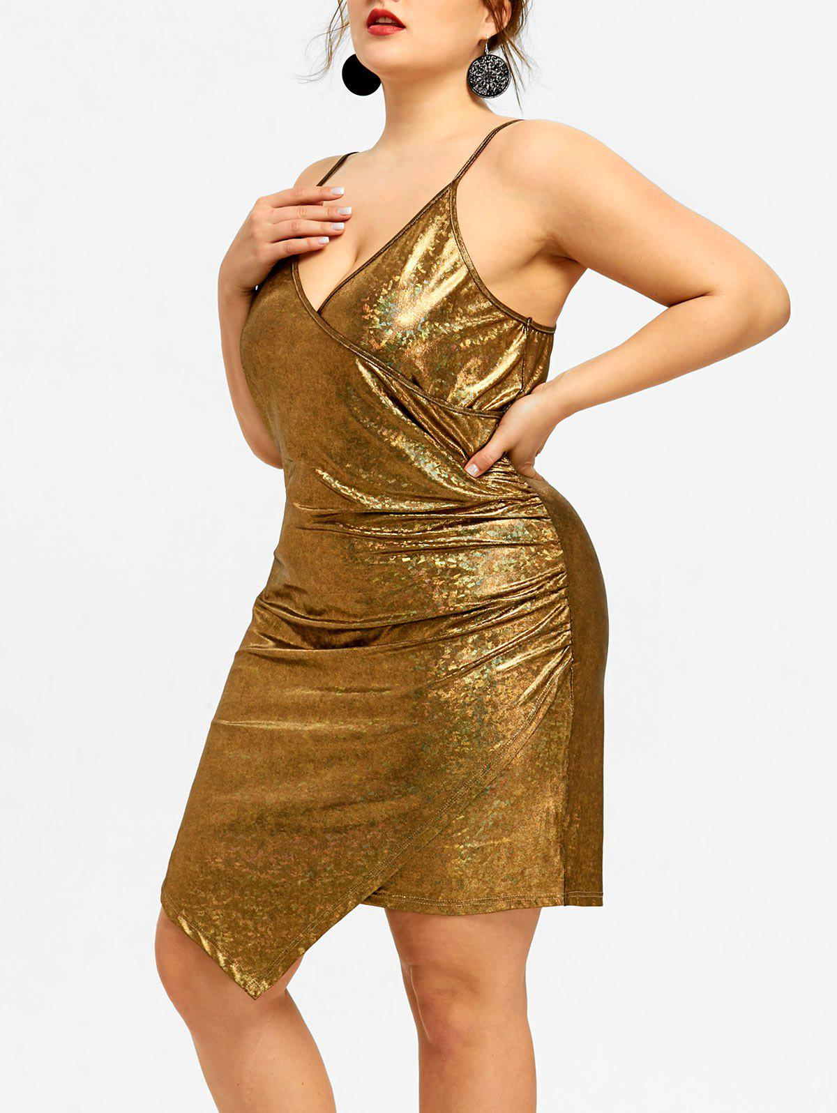 Trendy Plus Size Asymmetrical Plunge Bodycon Dress