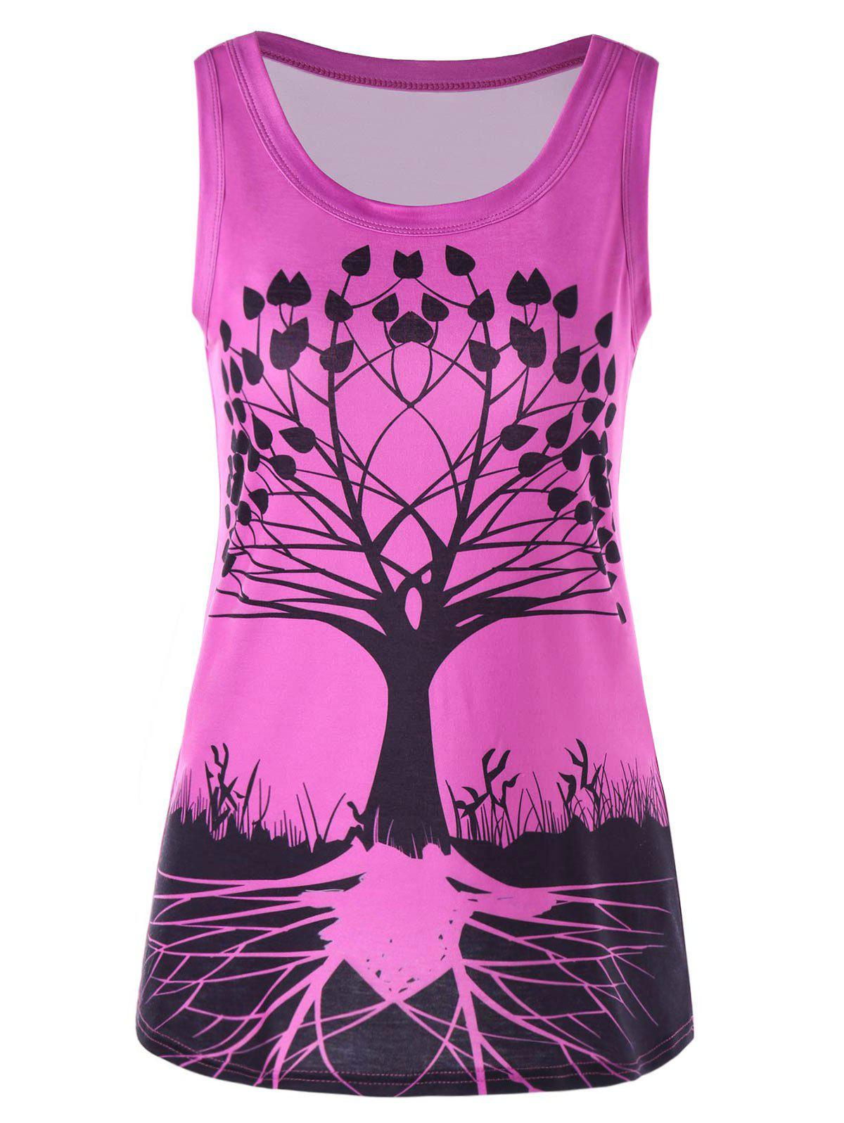 Fancy Tree Pattern Scoop Neck Tank Top