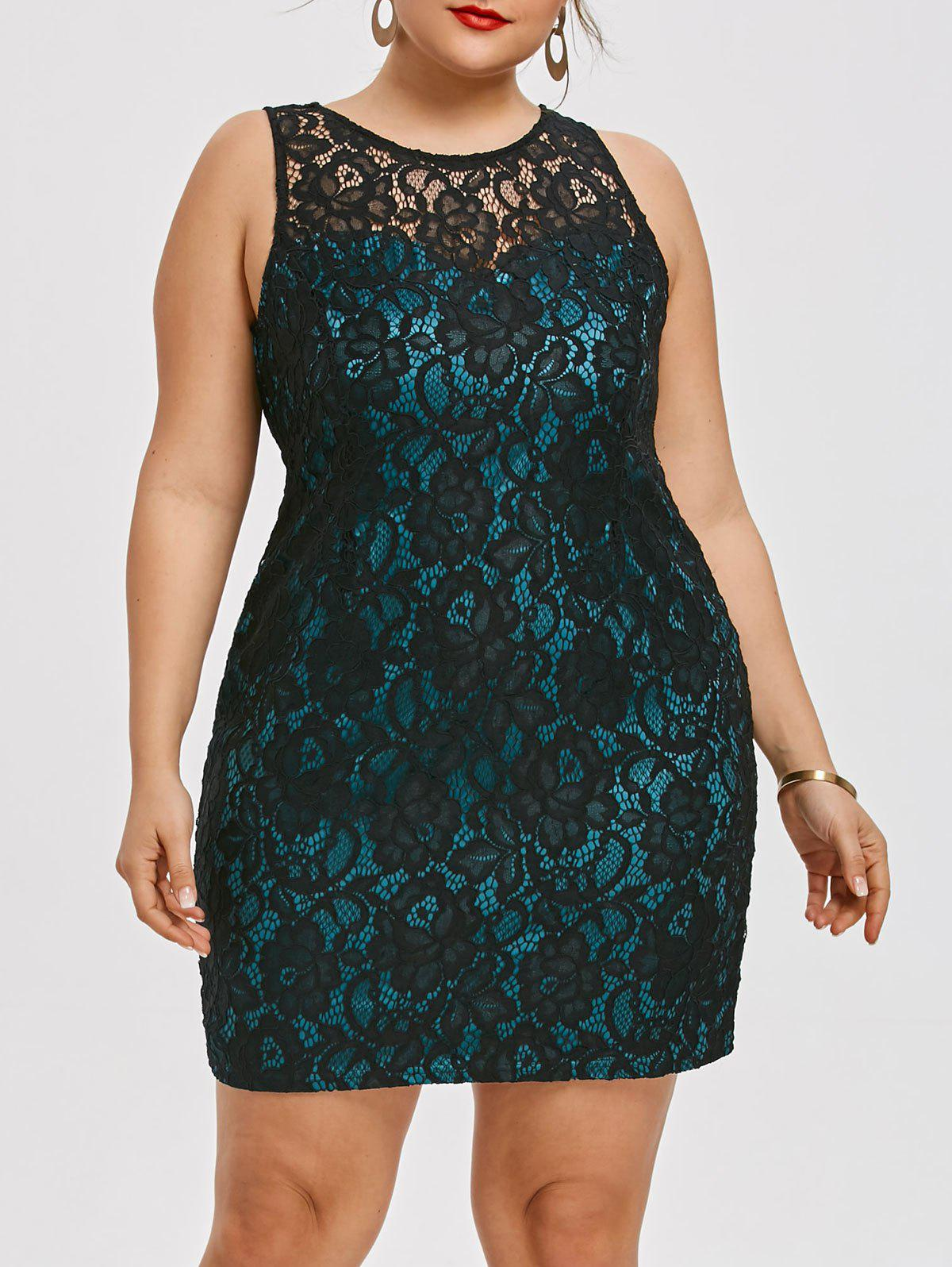 Affordable Plus Size Sleeveless Mini Lace Dress