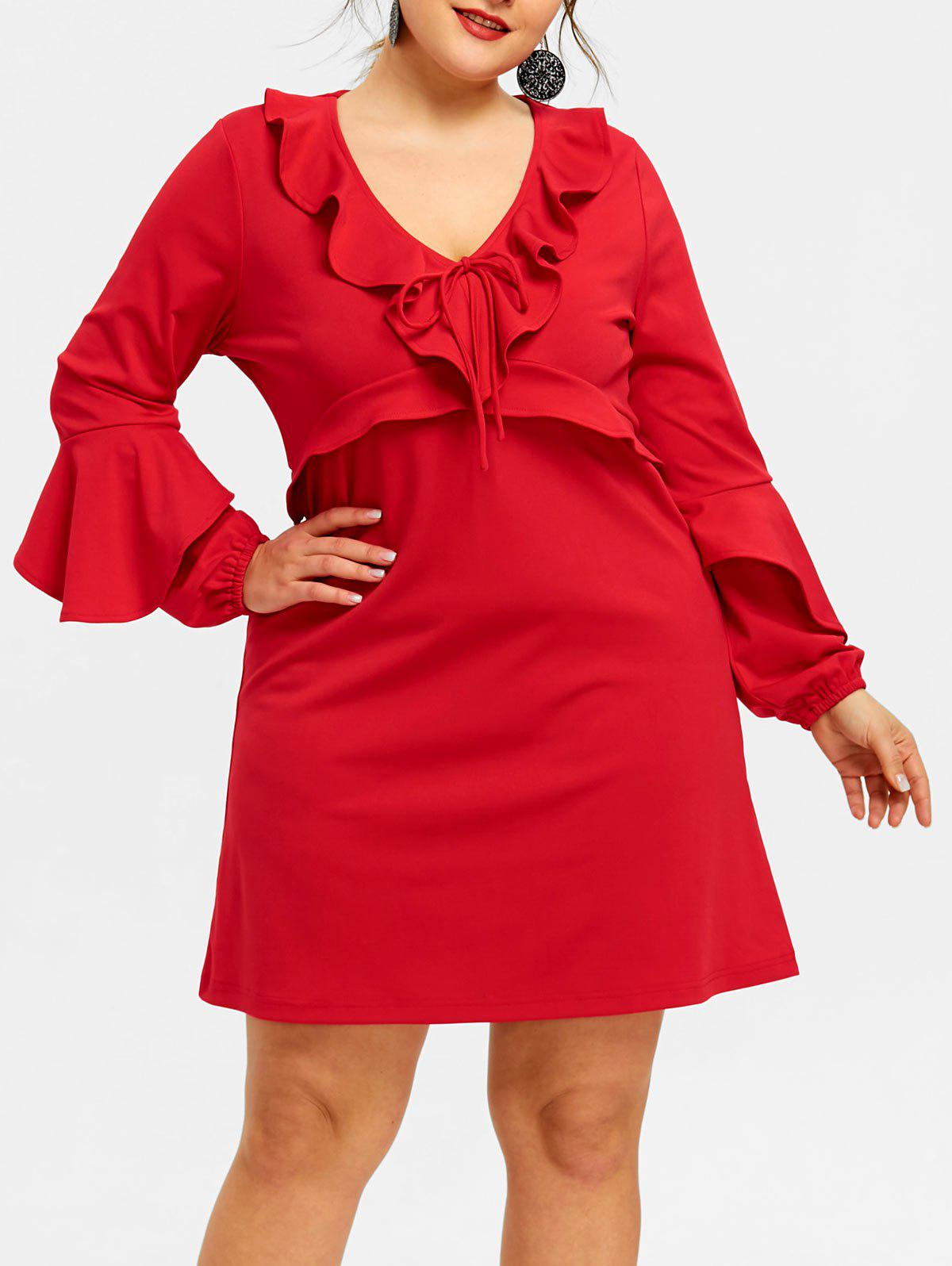 Outfit Plus Size Ruffle Trim Plunge Dress