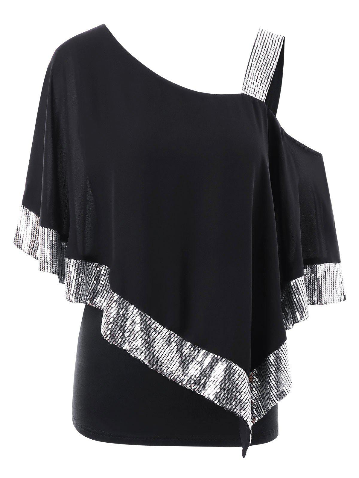 Fashion Plus Size Skew Collar Glittery Overlay T-shirt