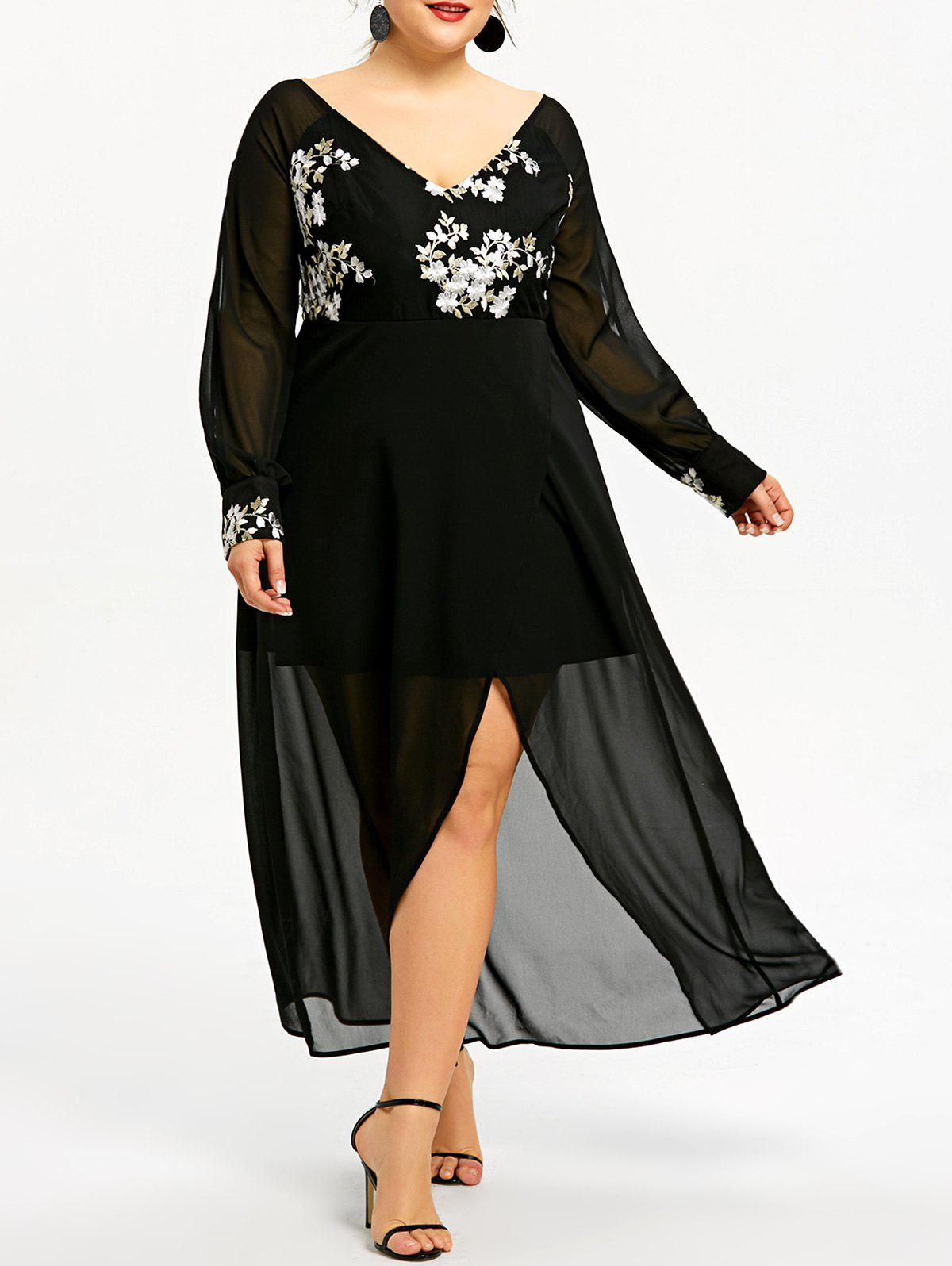 Outfit Embroidery Slit Sheer Chiffon Plus Size Midi Dress