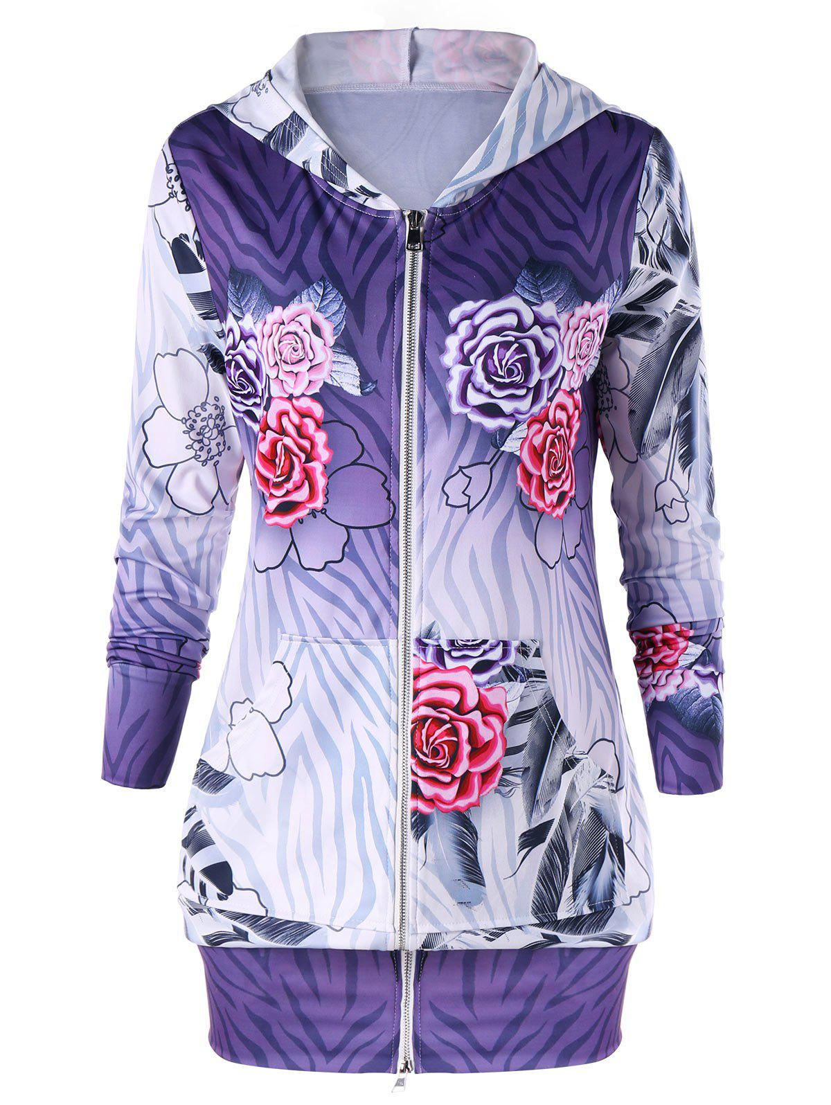 Hot Zip Up Flower Print Hoodie Dress