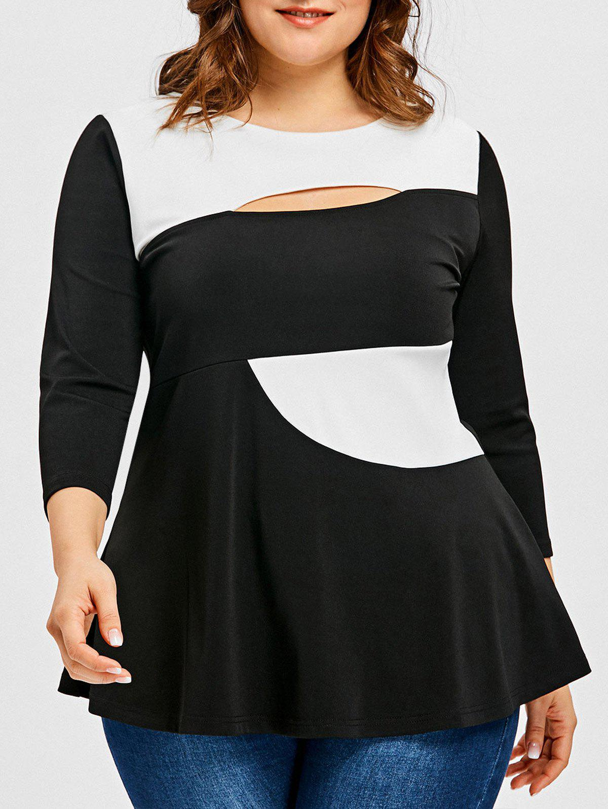 Latest Plus Size Cut Out Color Block Top