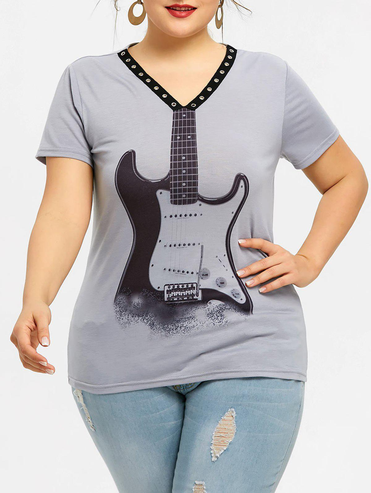 Outfits Plus Size Violin Print Eyelet T-shirt