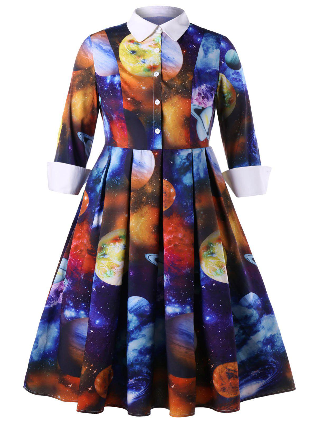 Latest Plus Size Galaxy Planet Print Shirt Dress