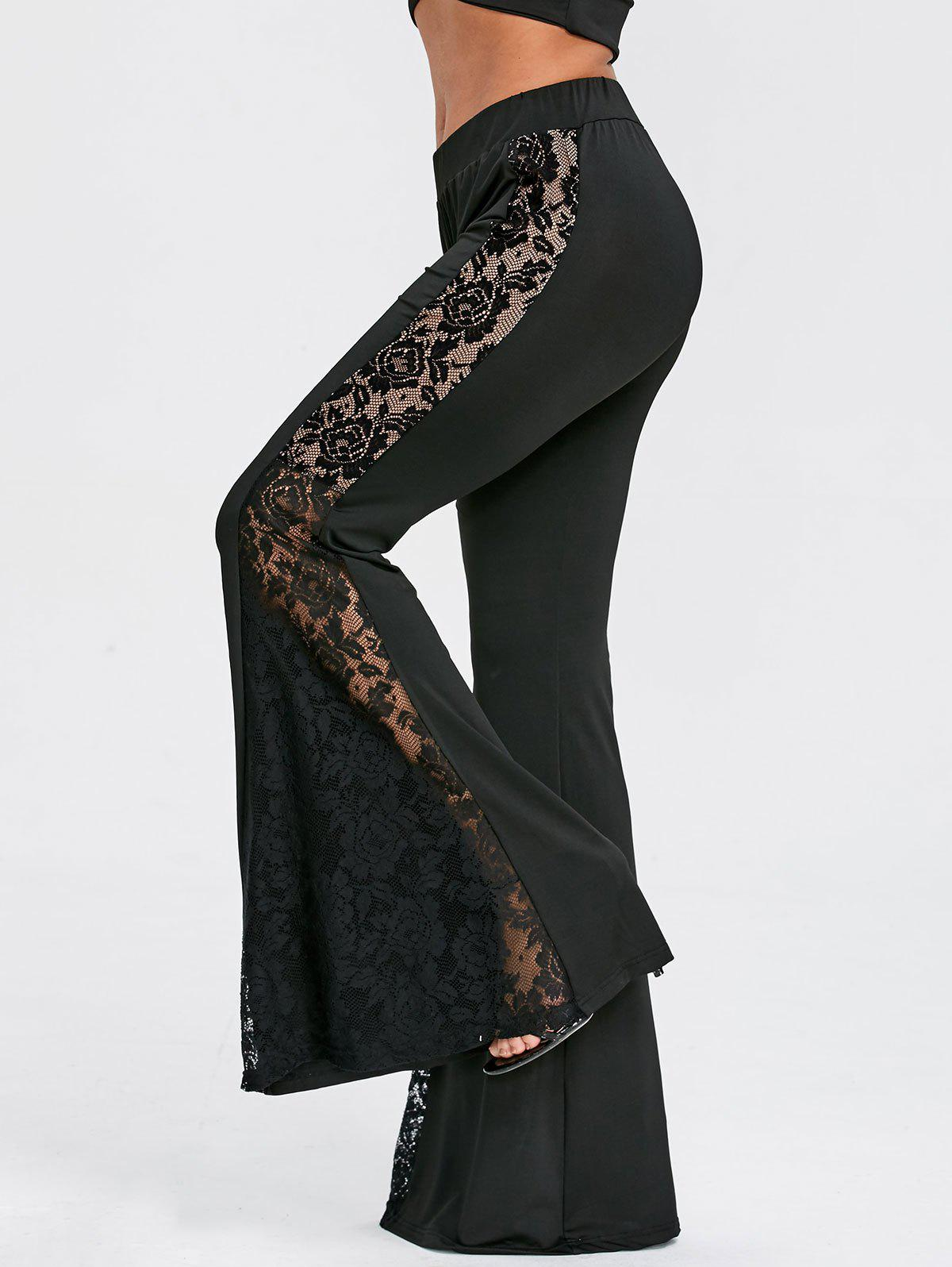 Shop Lace Panel High Waist Flare Pants