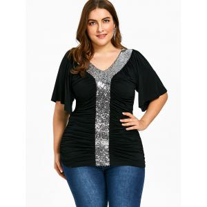 Plus Size Sequined Sparkly Ruched T-shirt -