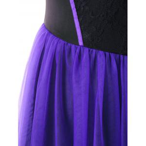 Plus Size Two Tone Tulle Retro High Low Dress -