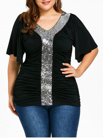 New Plus Size Sequined Sparkly Ruched T-shirt
