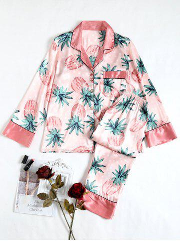 Sale Pineapple Print Satin Pajamas Set