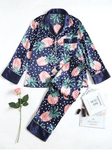 Shop Pineapple Print Satin Pajamas Set
