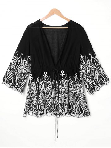 Cheap Embroidered Trim Plus Size Open Front Blouse