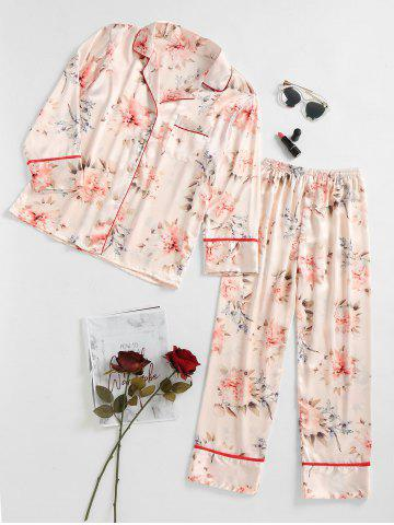 Online Flower Printed Satin Sleep Set