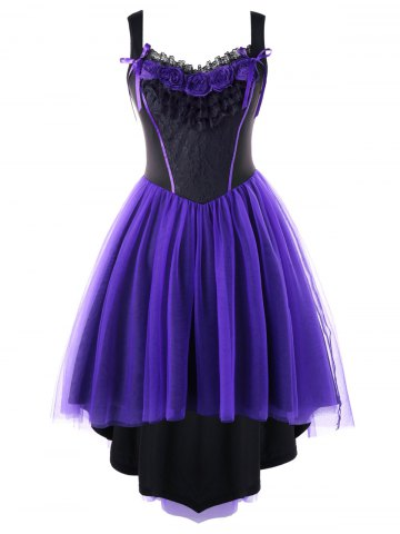 Cheap Plus Size Two Tone Tulle Retro High Low Dress