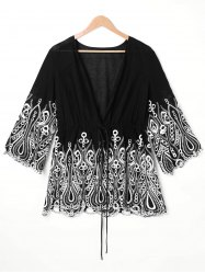 Embroidered Trim Plus Size Open Front Blouse -