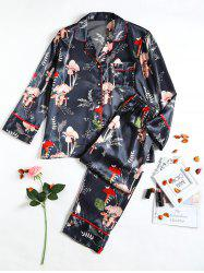 Pattern Satin Pajamas Set -