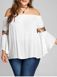 Plus Size Off The Shoulder Embroidery Blouse -