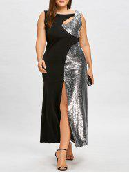 Plus Size Sequined Cutout High Split Formal Dress -