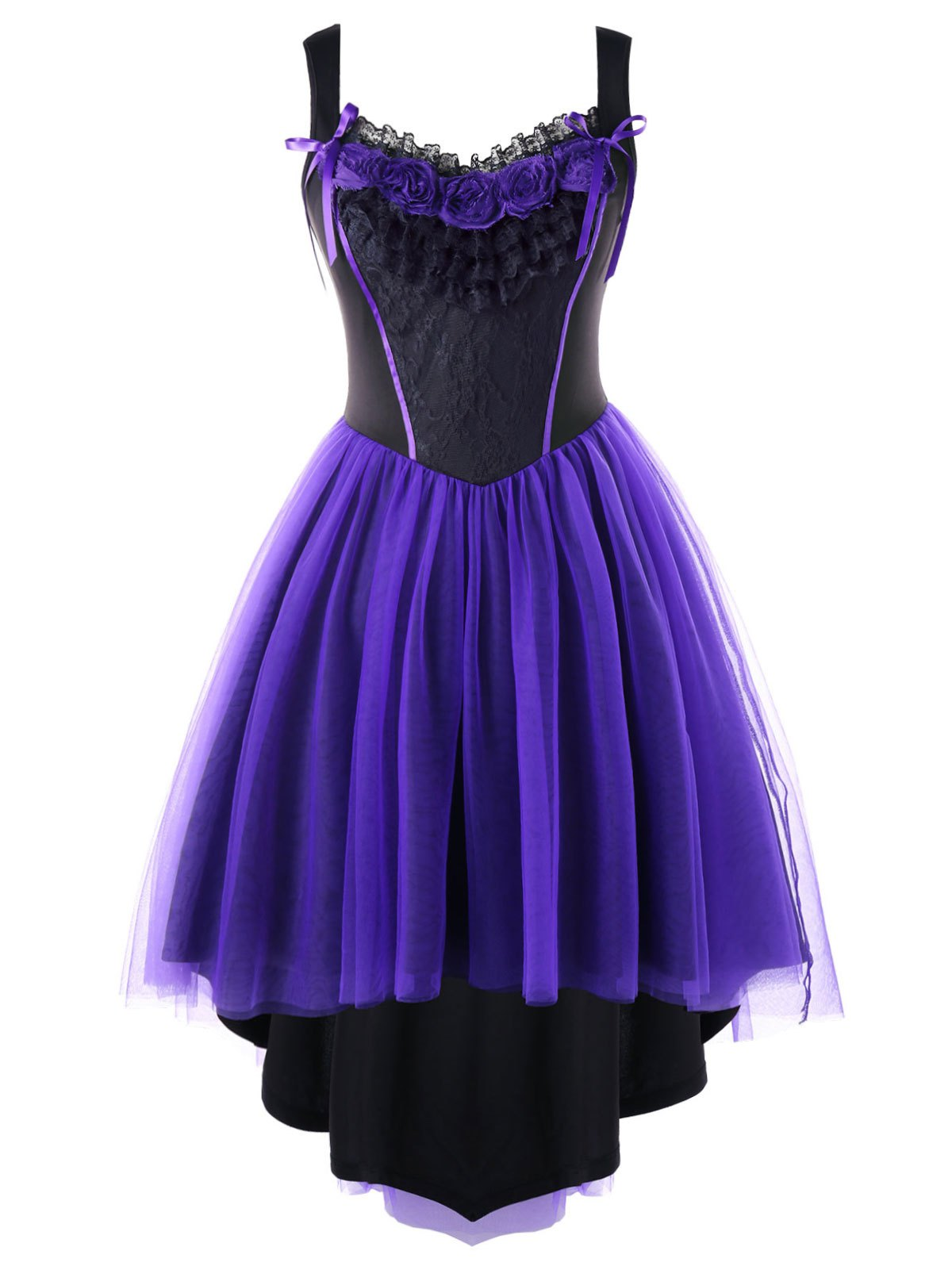 Best Plus Size Two Tone Tulle Retro High Low Dress