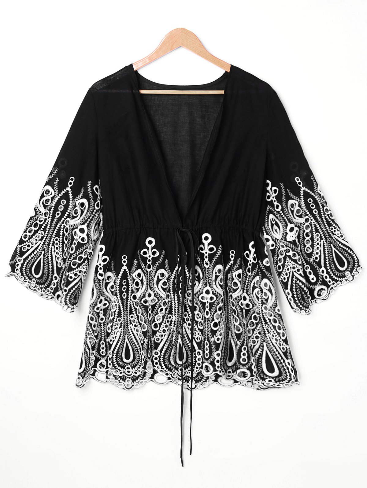Buy Embroidered Trim Plus Size Open Front Blouse