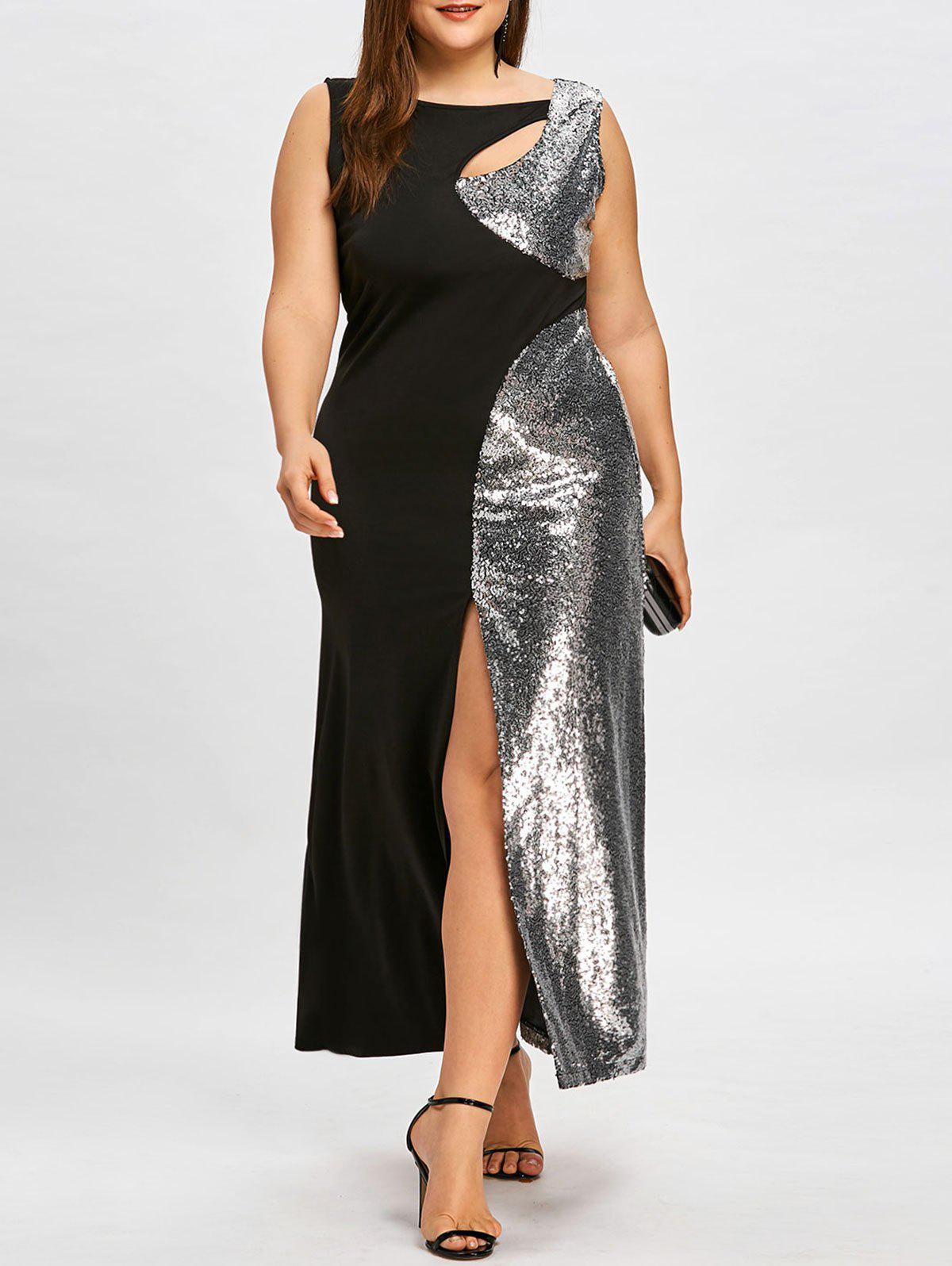 Online Plus Size Sequined Cutout High Split Formal Dress